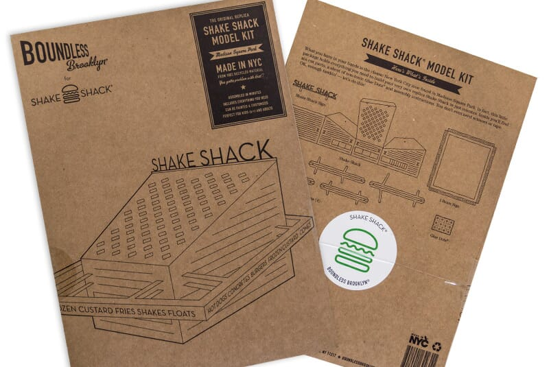 Another image of the cardboard used to make a Shake Shack building model