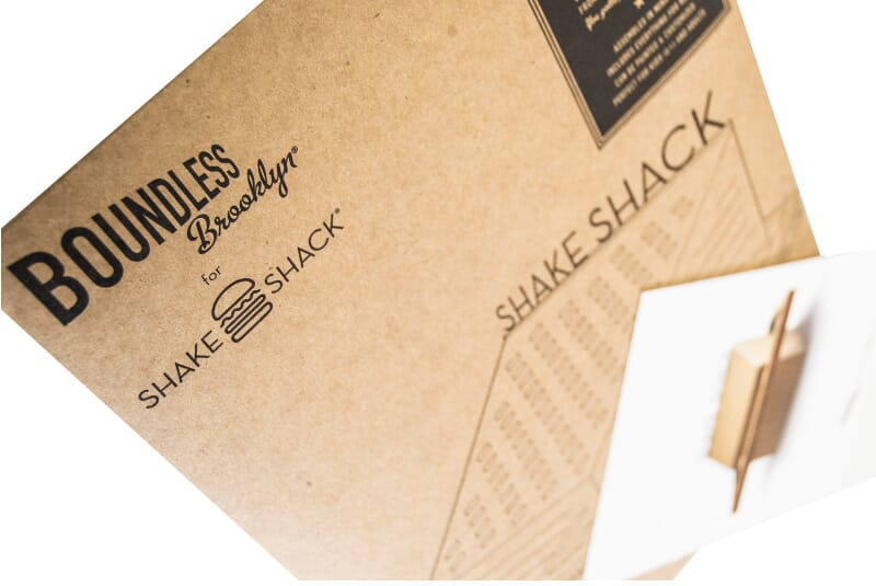 An image of the cardboard used to make a Shake Shack building model