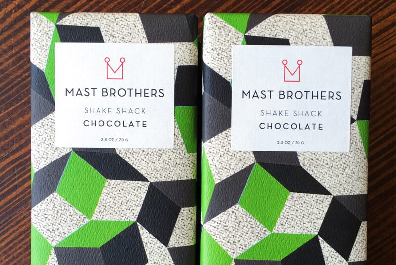 Closeup image of two buttermilk chocolate bars side by side.