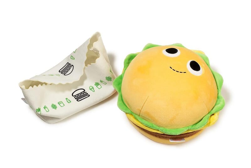 Image of burger plush outside of wrapper.