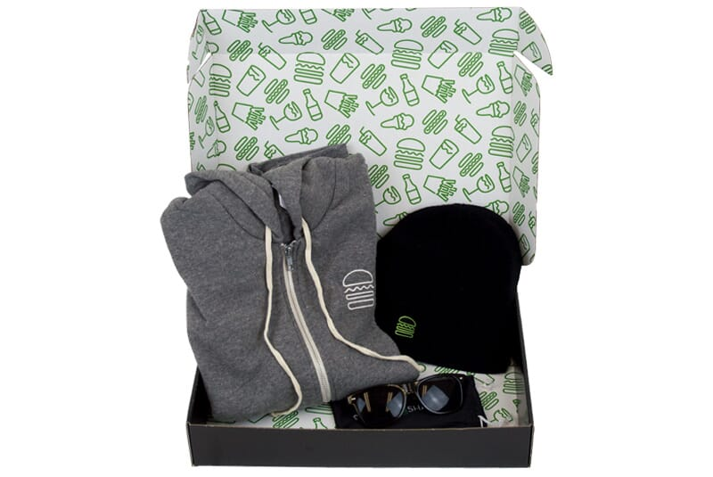 Hoodie, hat and sunglasses in gift box.