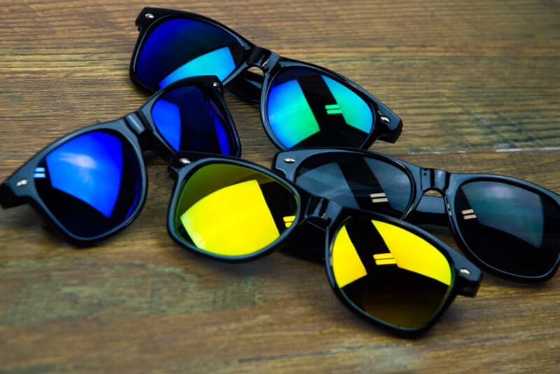 Black, warm, cool and indigo colored Shake Shack Shades in random assortment.