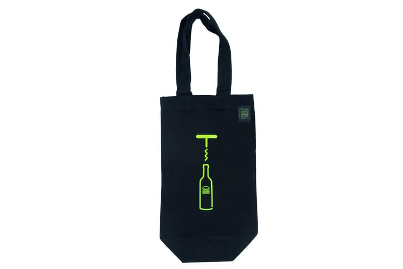 Image of wine bag with logo of wine bottle with shake shack burger on it and a wine cork.