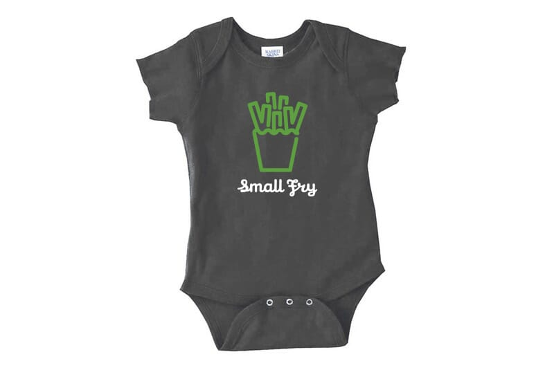 Front image of small fry bodysuit.