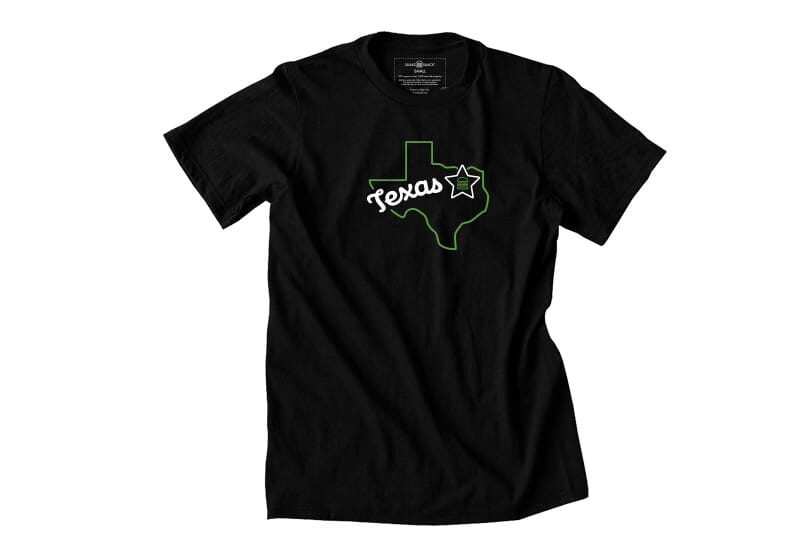 Far image of front of Texas tee.