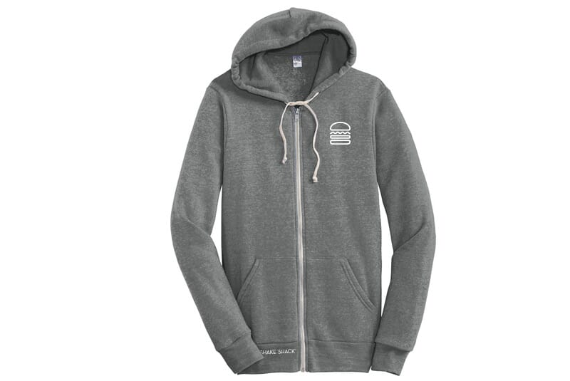 Full zip grey hoodie with Shake Shack Burger logo on left side.