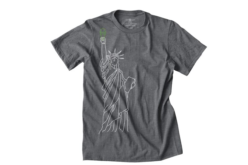 Far image of front of Liberty tee.