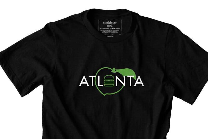 Close image of front of Atlanta tee.