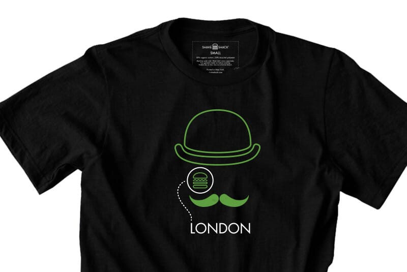 Close image of front of London tee.