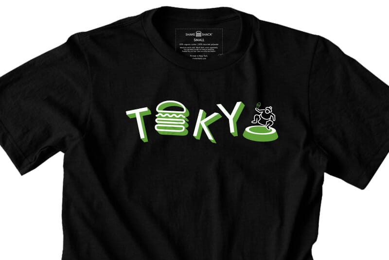 Close image of front of Tokyo tee.