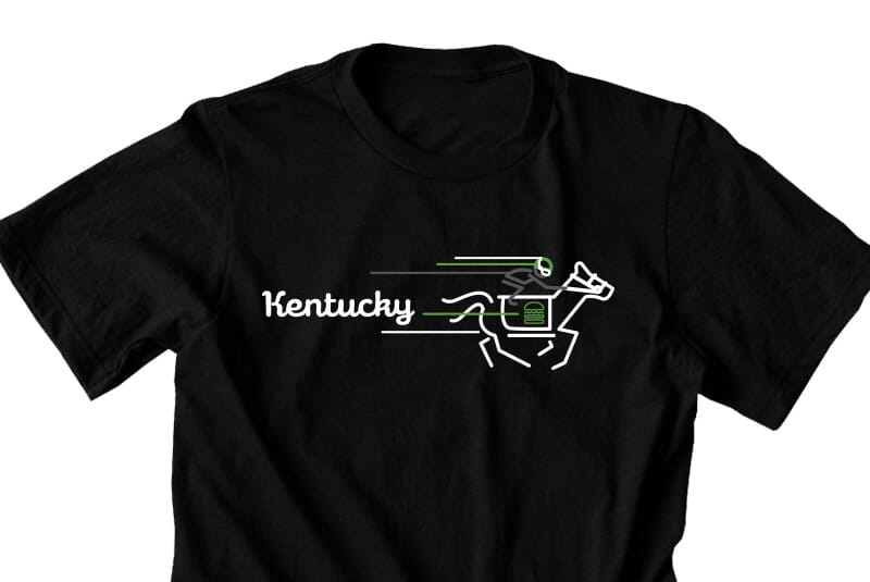 Detailed image of the front of the Kentucky tee.
