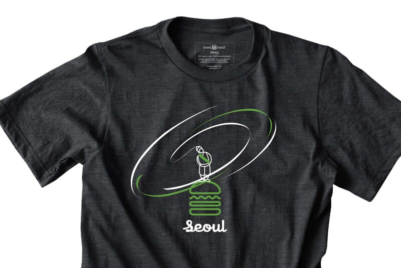 Detailed image of the front of the Seoul tee.