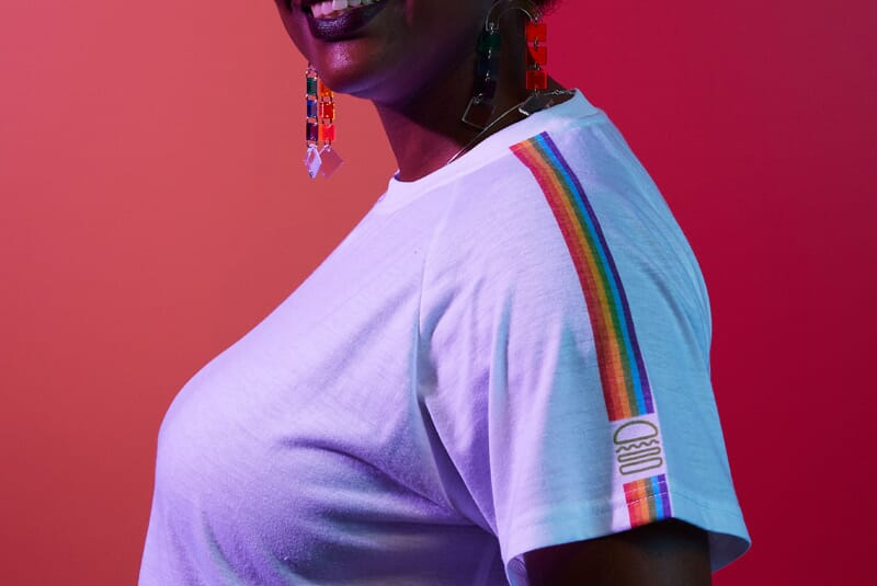 Close up image of person wearing Rainbow Striped Crop Top
